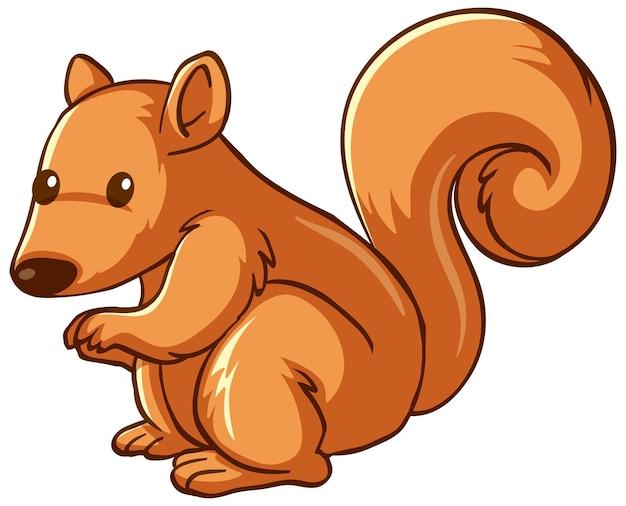 Cartone animato animale scoiattolo su sfondo bianco