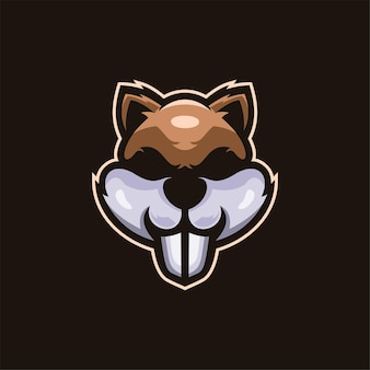 Squirrel animal head cartoon logo template illustration esport logo gaming premium vector