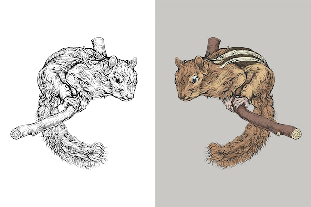 Squirrel on branch in curly hand drawing style