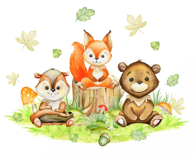 Squirrel, chipmunk, bear, autumn leaves, mushrooms, acorns. a watercolor concept, on an isolated background, in a cartoon style.