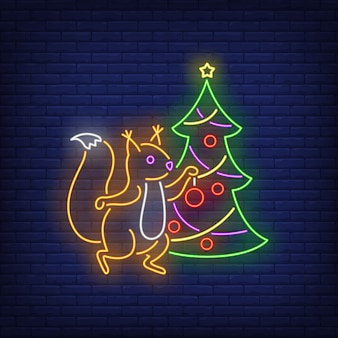 Squirrel decorating fir-tree in neon style