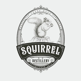 Squirrel distillery logo design