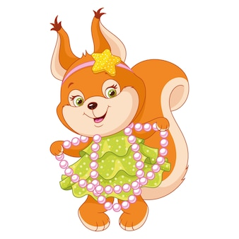 Squirrel in dress for party on white background