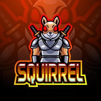 Squirrel e sport logo mascot design