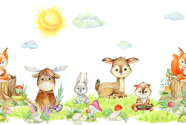 Squirrel, elk, rabbit, deer, chipmunk, sun, clouds, plants mushrooms, forest, animals, in cartoon style. watercolor seamless pattern, on an isolated background.