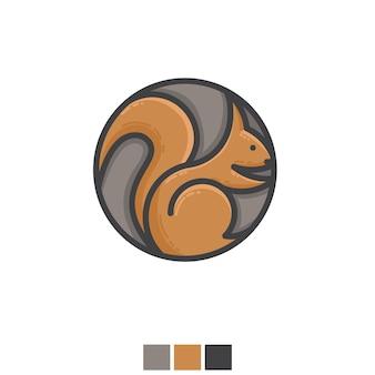 Squirrel flat icon logo template