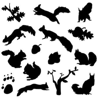 다람쥐 숲 동물 실루엣 클립 아트