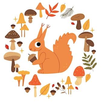 버섯 화환에 다람쥐 가을 버섯 세트 산림 식물과 동물