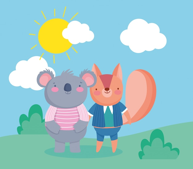 Squirrel and koala with sun