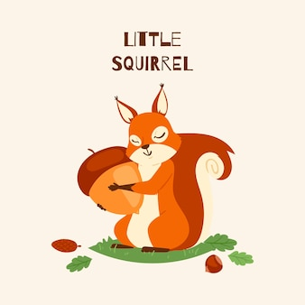 Squirrel little hugging acorn and standing on grass in forest