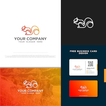 Squirrel logo with free business card design