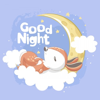 Squirrel sleeping in the clouds with good night lettering
