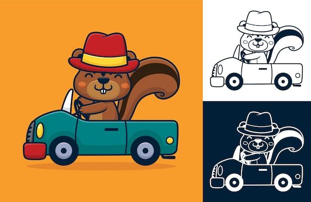 차를 운전하는 동안 모자를 쓰고 다람쥐. 평면 아이콘 스타일의 만화 그림