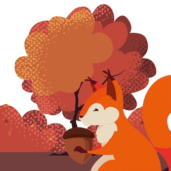 Squirrel with acorn  in a natural landscape