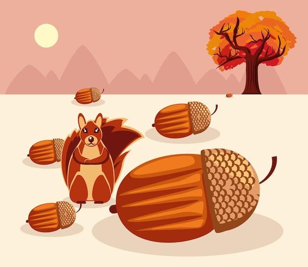 도토리와 나무가 있는 다람쥐