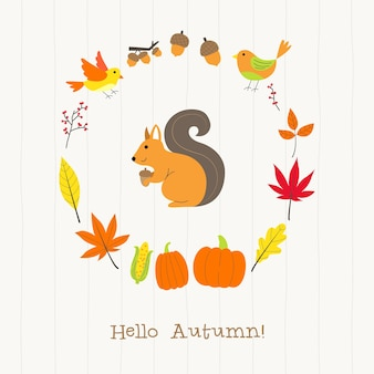 Squirrel with autumn frame card