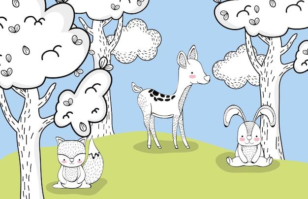 Белка с оленями и друзьями кролика на деревьях