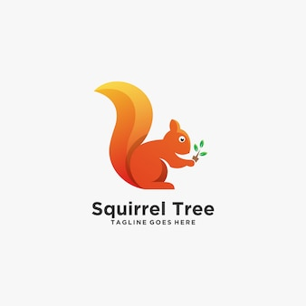 Squirrel with leaf beautiful pose colorful illustration  logo.