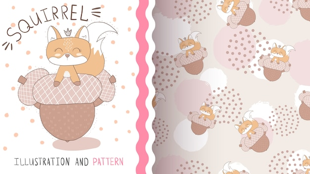 Squirrel with nuts - seamless pattern