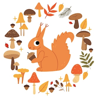 Squirrel in a wreath of mushroomsset of autumn mushrooms forest plants and animals