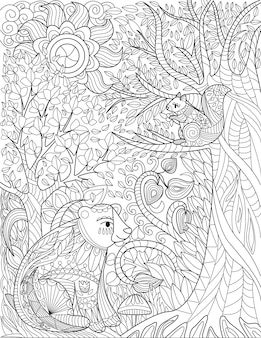 Squirrels resting on a wildlife forest with tall trees sun up high colorless line drawing wild