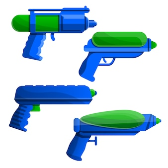 Squirt gun icon set, cartoon style