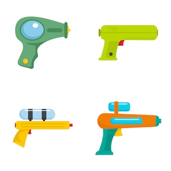 Squirt gun water pistol game icons set