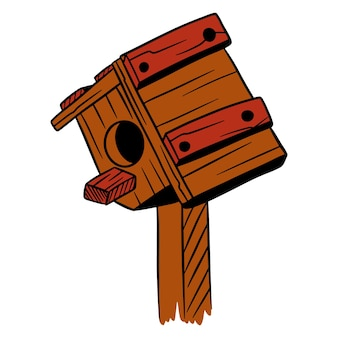 Squorer for birds. house for birds. wooden house. cartoon style. illustrations for design and decoration.