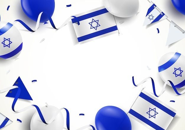 Srael holiday. background with balloons, flags