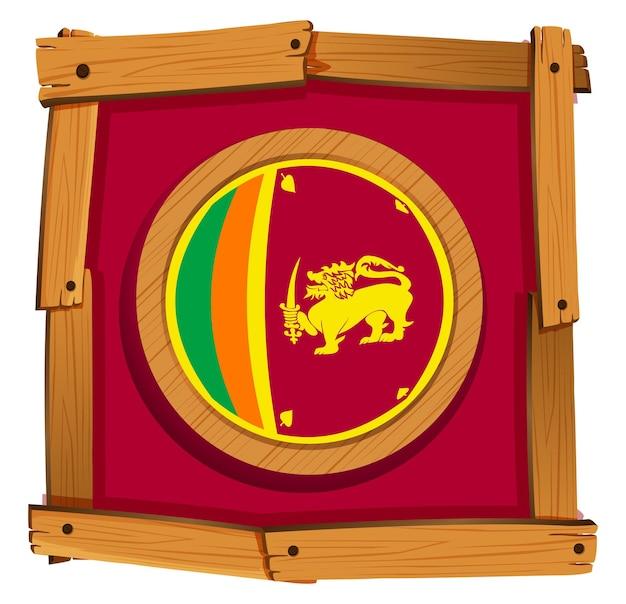 Sri lanka flag on round badge