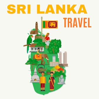 Sri lanka flat illustration