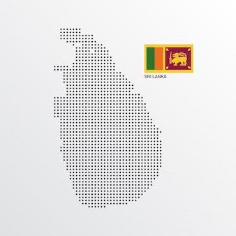 Sri lanka map design with flag and light background vector