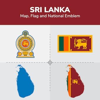Sri lanka map, flag and national emblem