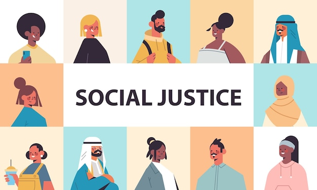 Srt mix race people avatars racial equality social justice stop discrimination concept male female cartoon characters portraits collection horizontal