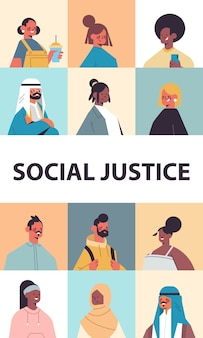 Srt mix race people avatars racial equality social justice stop discrimination concept male female cartoon characters portraits collection vertical