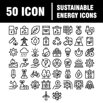 Ss template uploadsimple set of eco related  line icons. contains such icons as electric car, global warming, forest, organic farming and more.  stroke.