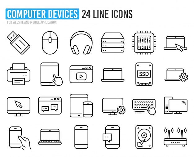 モバイルデバイスラインアイコン。ラップトップ、ssd、hdd。