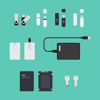 Ssd and usb storage devices set. illustration on blue background