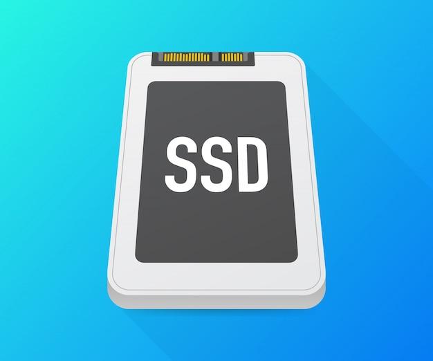 ソリッドステートドライブ、ssdポリゴン、コンピューターデバイス、ハードディスク。ベクトルイラスト