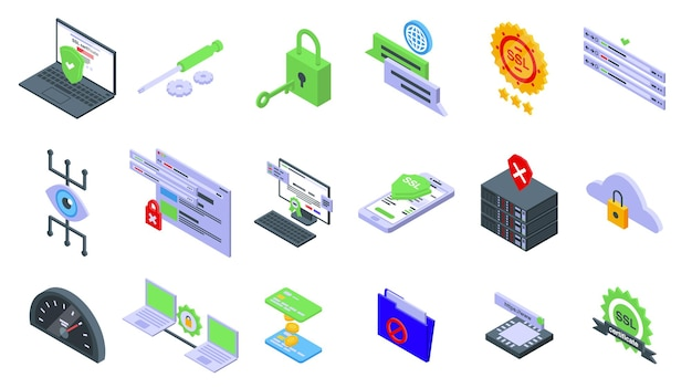Ssl certificate icons set. isometric set of ssl certificate vector icons for web design isolated on white background