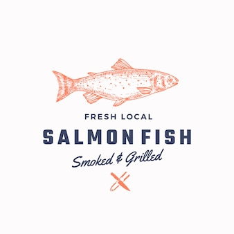 Ssmoked and grilled salmon abstract  sign, symbol or logo template. .