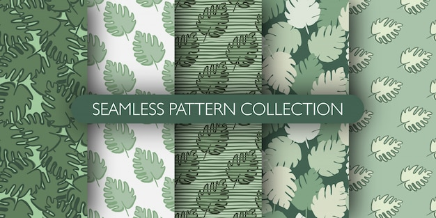 St of jungle exotic monstera leaves seamless pattern. tropical leaf wallpaper collection.