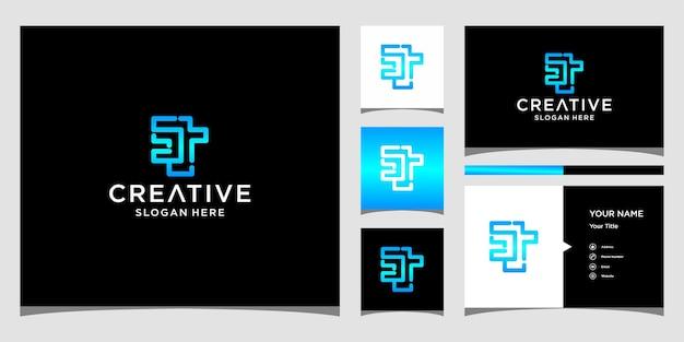 Дизайн логотипа st с шаблоном визитной карточки