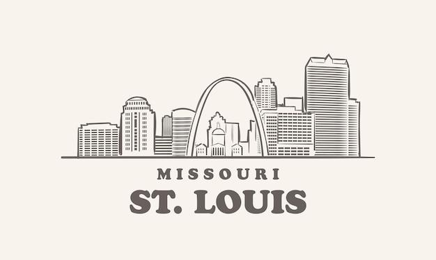 セントルイスのスカイライン、ミズーリ州が描いたスケッチ大都市