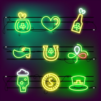 St partricks day icon set neon in effect.