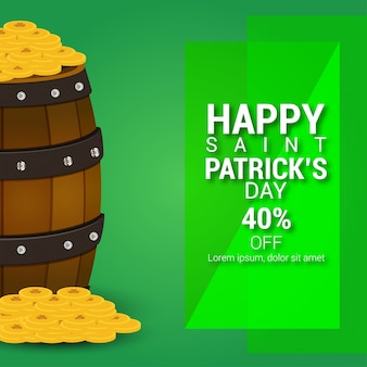 St patrcik sale banner with coins and drums