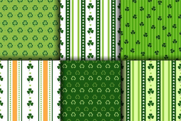 St.patric's day seamless pattern in green orange and white colors