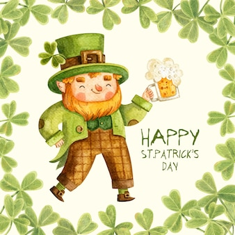 St. patrick background with cute cartoon leprechaun holding beer.