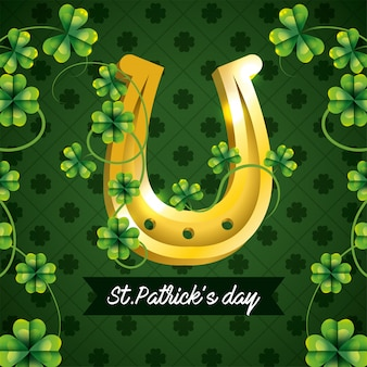 St patrick celebration with clovers and gold horseshoe