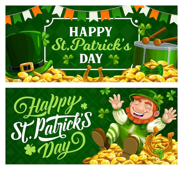 St. patrick day cartoon banners with leprechaun in green top hat sitting on gold coins pile